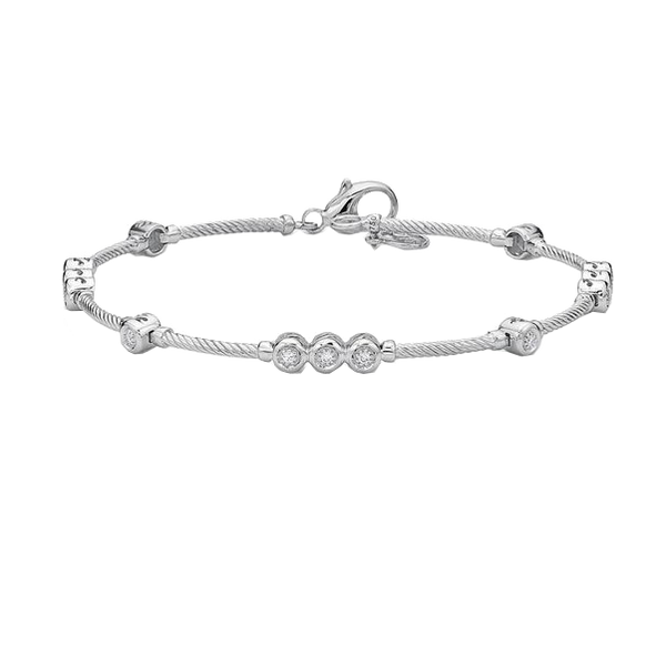 Alor Diamond and Grey Cable Bracelet
