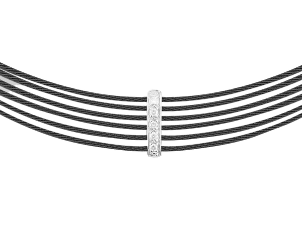 Alor Diamond and Black Cable Necklace
