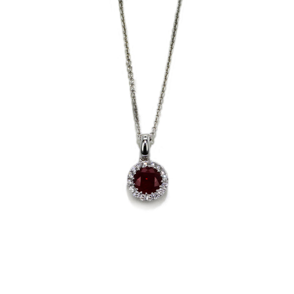Diamond and Ruby 18KT White Gold Pendant
