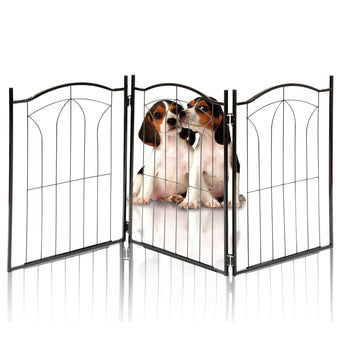Kleeger KLG-125 Metal Pet Gate, Foldable & Freestanding, For Indoor Home & Office Use. Keeps Pets Safe [Arch Decorative Design]. Easy Set Up, No Tools Required