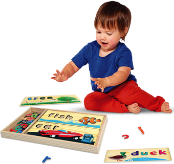 Kleeger Kids Word Puzzle Spelling Toy: Wooden Educational Learning Toy With Storage Case & 8 Friendly Spelling Boards. For Toddlers, Preschool. Improves Vocabulary & Fine Motor Skills