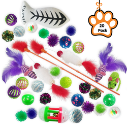 Kleeger 20-Pack Assorted Cat Toys Collection Play Set – Mice, Feathers, Crinkle Balls, Catnip Toy