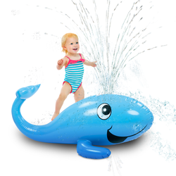 Kleeger Kids Water Sprinkler Toy: 2 in 1 Giant Inflatable Whale Splash Fun For Outdoor Games | Pool Float For Boys & Girls | Great for Garden / Backyard Activities & Parties (KLG-280)