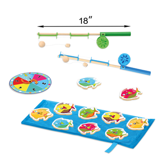 Kleeger Catch & Count Wooden Fishing Game | Engaging, Interactive & Educational Game For Kids, Boys & Girls | 10 Wooden Fish & 2 Magnetic Rods