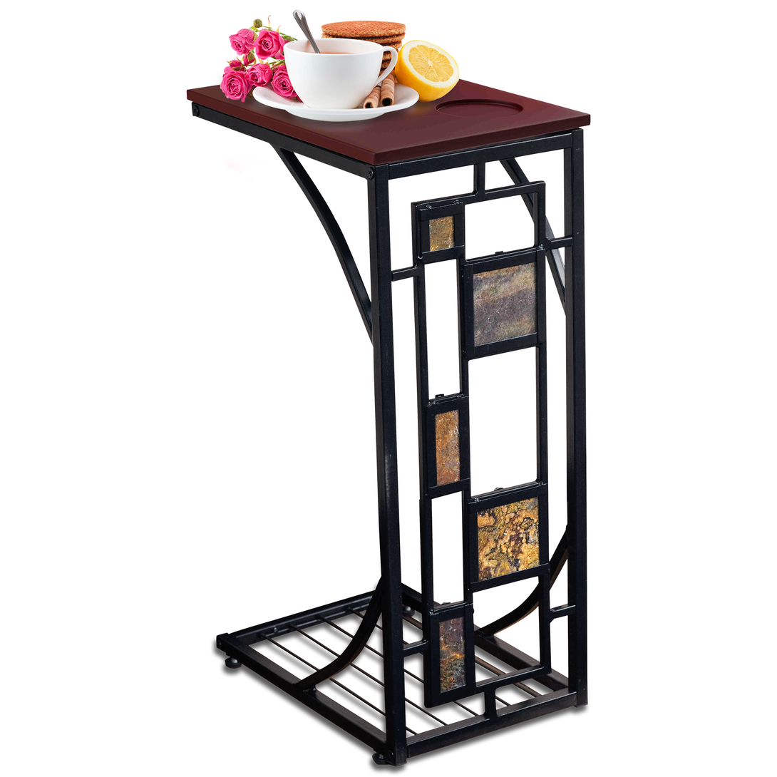 Kleeger Sofa Side Table With Cup Holder Modern Coffee Snack
