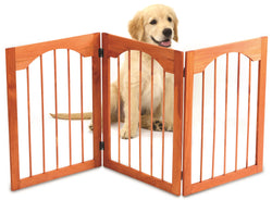 Kleeger Wooden Pet Gate, Foldable & Freestanding, For Indoor Home & Office Use. Keeps Pets Safe [ Natural Classic Arch Decorative Design]. Easy Set Up, No Tools Required