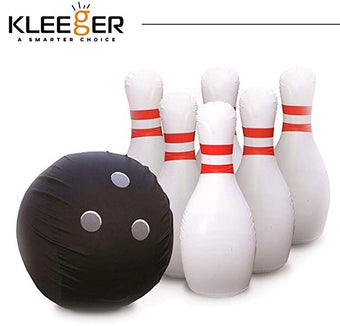 Kleeger Giant Inflatable Bowling Set 5 Huge Life Size Large Jumbo 24 Inch Pins And Extra Big 18 Inch Ball Great On Lawn And Yard Indoor Outdoor Game For Kids And Adults With Bonus Pump