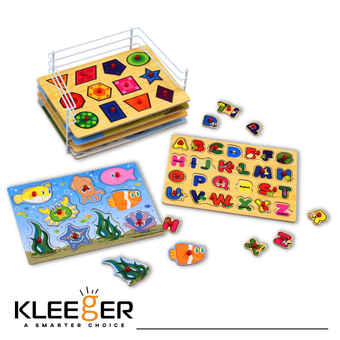 Kleeger Premium Baby Peg Puzzle 6-In-1 Set - 6 Different Themed Educational Knob Puzzles For Boy & Girl Toddlers - Alphabet, Numbers, Sea Life, Dinosaurs, Shapes & Vehicles - Bonus: Storage Rack