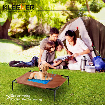Kleeger Premium Cooling Gel Pet Bed - Lightweight & Portable Elevated Cot - Keep Your Cat & Dog Cool On Hot Days - Suitable For Indoor & Outdoor Use