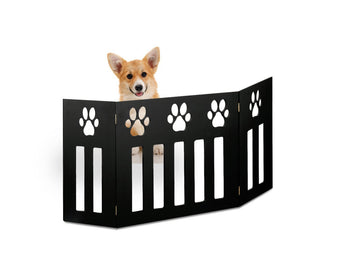 Kleeger Wooden Pet Gate, Foldable Adjustable & Freestanding, For Indoor Home & Office Use. Keeps Pets Safe [ Black Paw Print Decorative Design]. Easy Set Up, No Tools Required