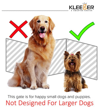 Kleeger Wooden Pet Gate, Foldable & Freestanding, For Indoor Home & Office Use. Keeps Pets Safe [ White Cascade Wave Decorative Design]. Easy Set Up, No Tools Required.