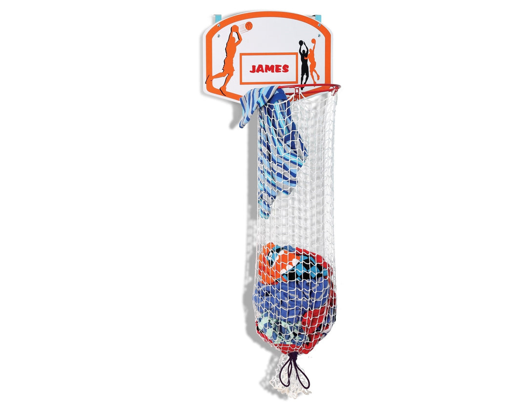 Kleeger Kids Basketball Clothes Hamper: 2-In-1 Basketball Hoop & Laundry Bag Mounts Over The Door, Made With Metal Rim.