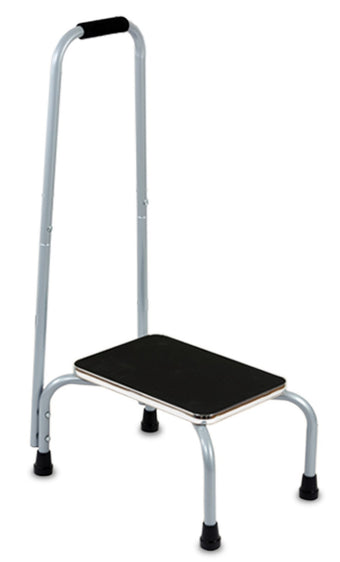 Kleeger Step Stool Support Ladder With Handrail: Safe Non Slip Platform, Cushion Grip Handle Bar