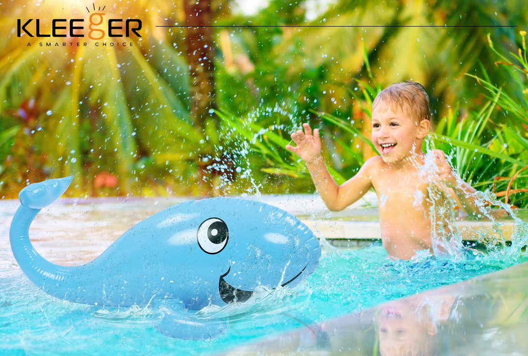outdoor water games for kids. Kleeger Kids Water Sprinkler Toy: 2 In 1 Giant Inflatable Whale Splash Fun For Outdoor Games