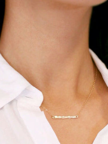 Hammered Bar Necklace - Women's clothing