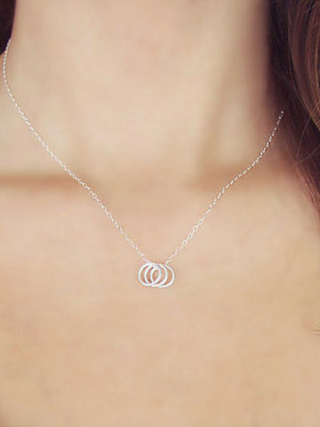 Delicate Three Ring Necklace - Women's clothing