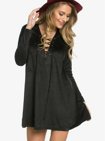 All Tied Up Black Suede Dress - Women's clothing