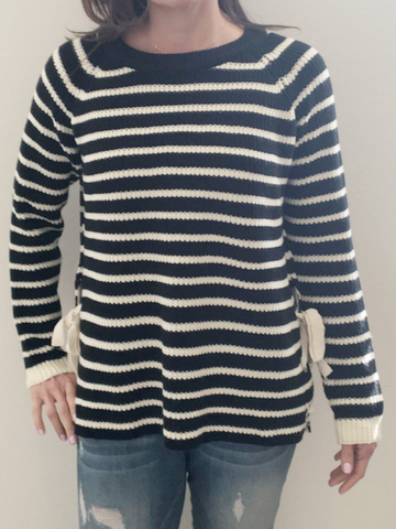 Lace Me Up Striped Sweater - Women's clothing