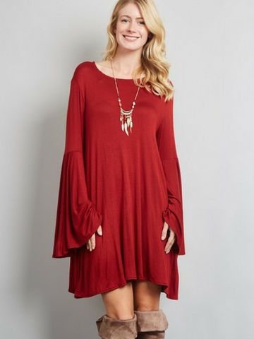 Bell Sleeved Beauty Dress - Women's clothing