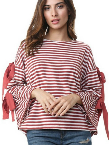 Bows And Stripes Forever Top - Women's clothing