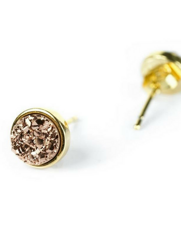 Druzy Stud Earrings - Women's clothing