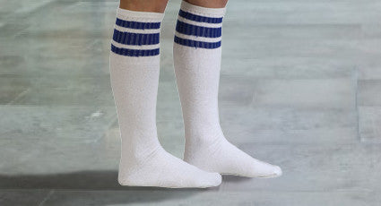 mens striped white tube socks
