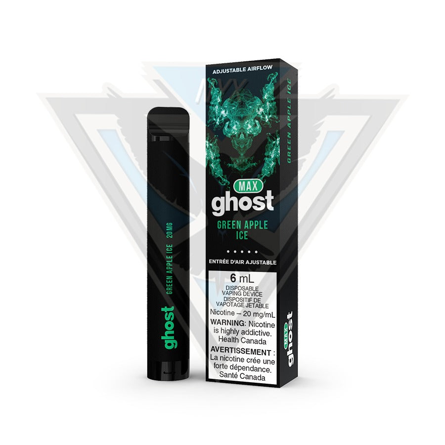 GHOST MAX DISPOSABLE POD DEVICE - GREEN APPLE ICE - NYX ECIGS