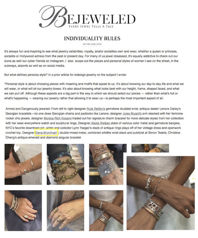Various Dana Bronfman Bangles and Cuffs featured on BejeweledMag.com