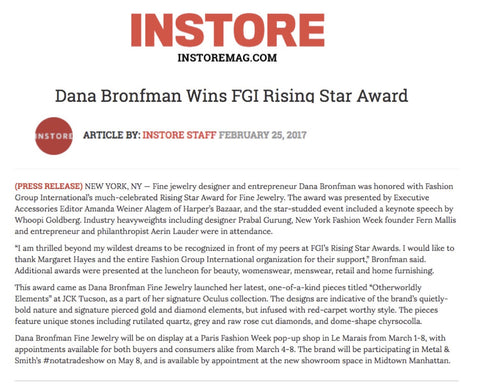 Dana Bronfman Wins FGI Rising Star Award