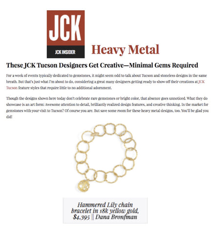 Hammered Lily Chain Bracelet featured on JCK Insider