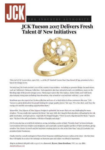 Still Lily Solitaire Ring featured on JCK Online