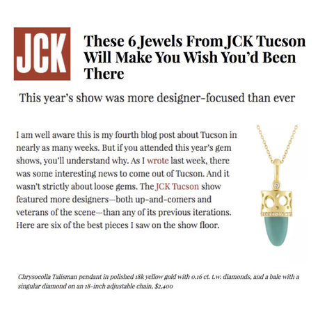 Chrysocolla Talisman Pendant featured on JCK Online