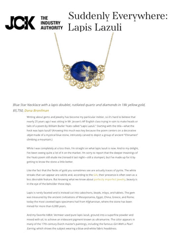 'Blue Star Necklace' featured on JCK Online