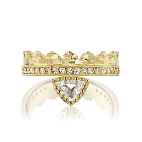 Agra Crown Ring with Step Triangle Diamond