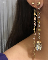 Mismatched Quartz & Diamond Drop Earrings