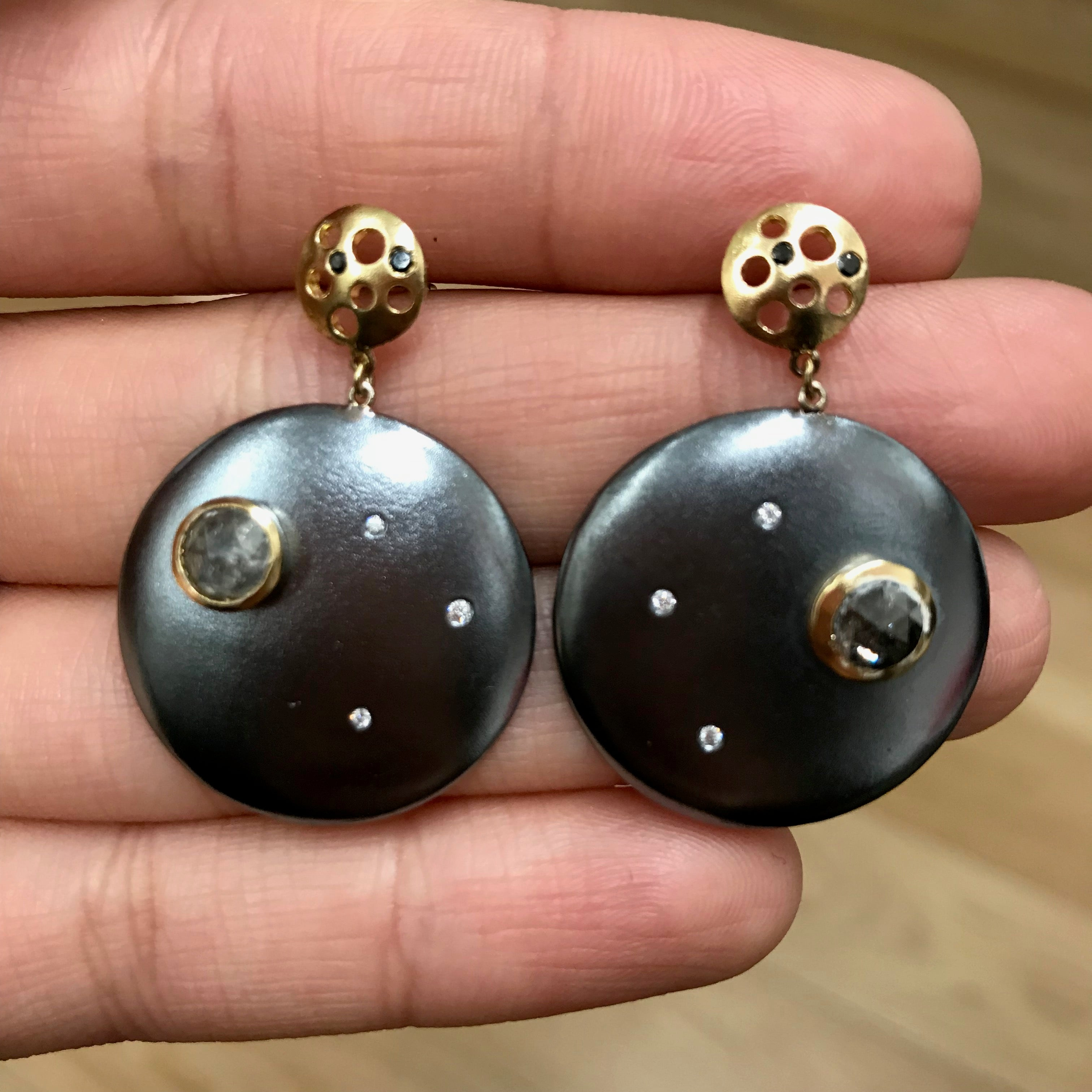 Dark Night Diamond Coin Earrings