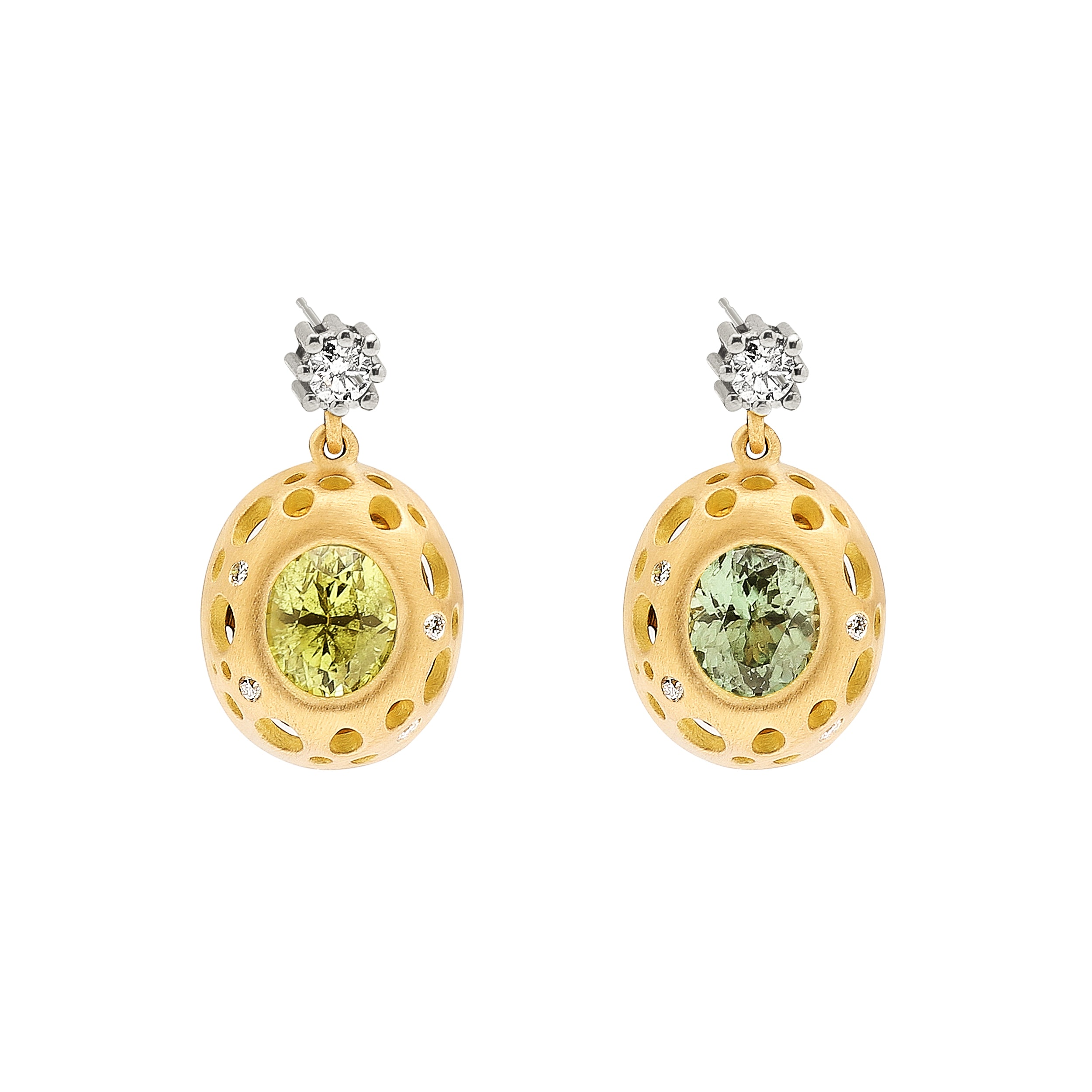 Chrysoberyl Oculus Bezeled Cushion Drop Earrings