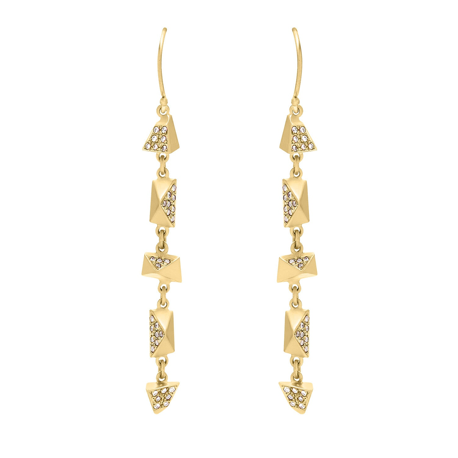 Diamond 5 Pi Drop Earrings