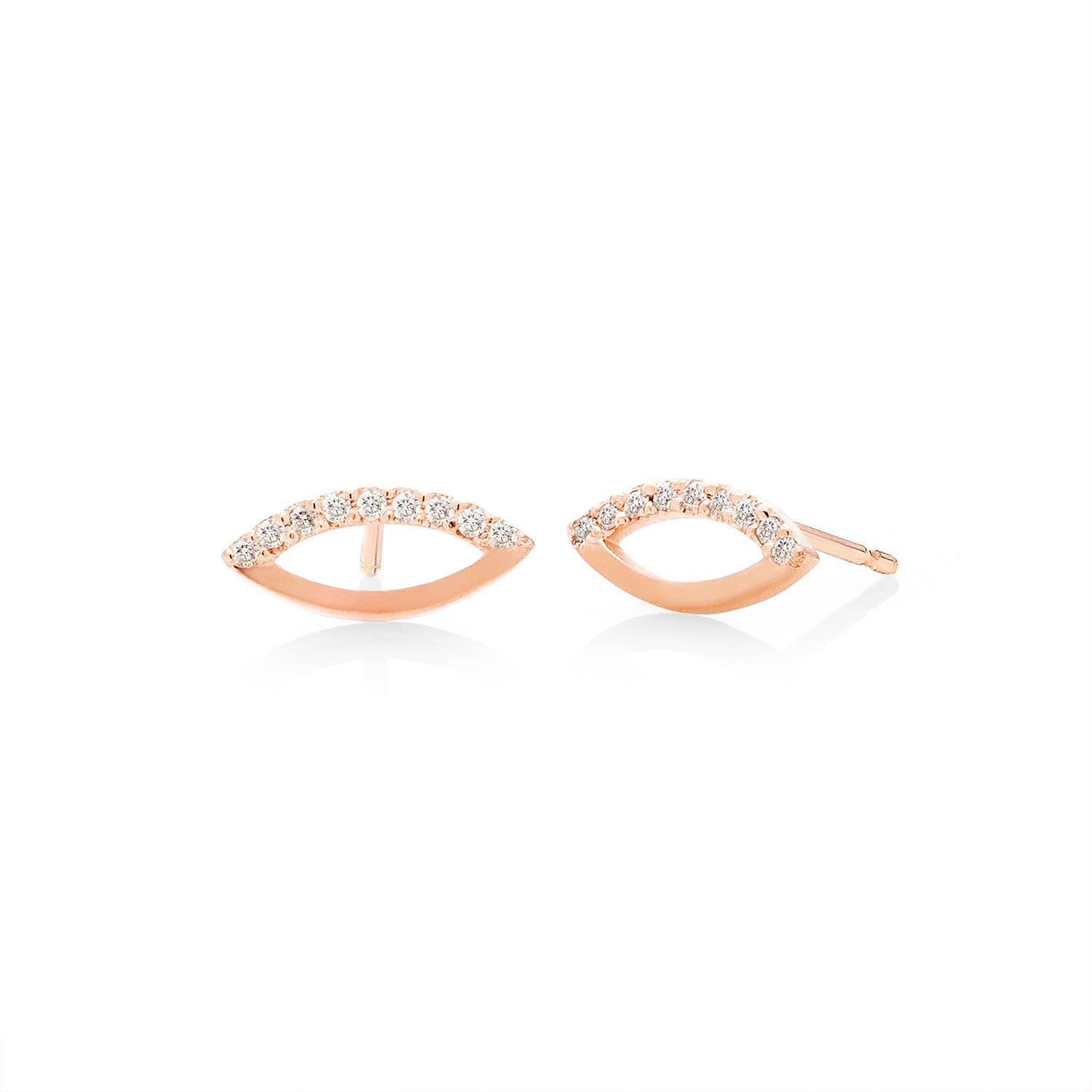 Half-Pave Oculus Marquise Stud Earrings