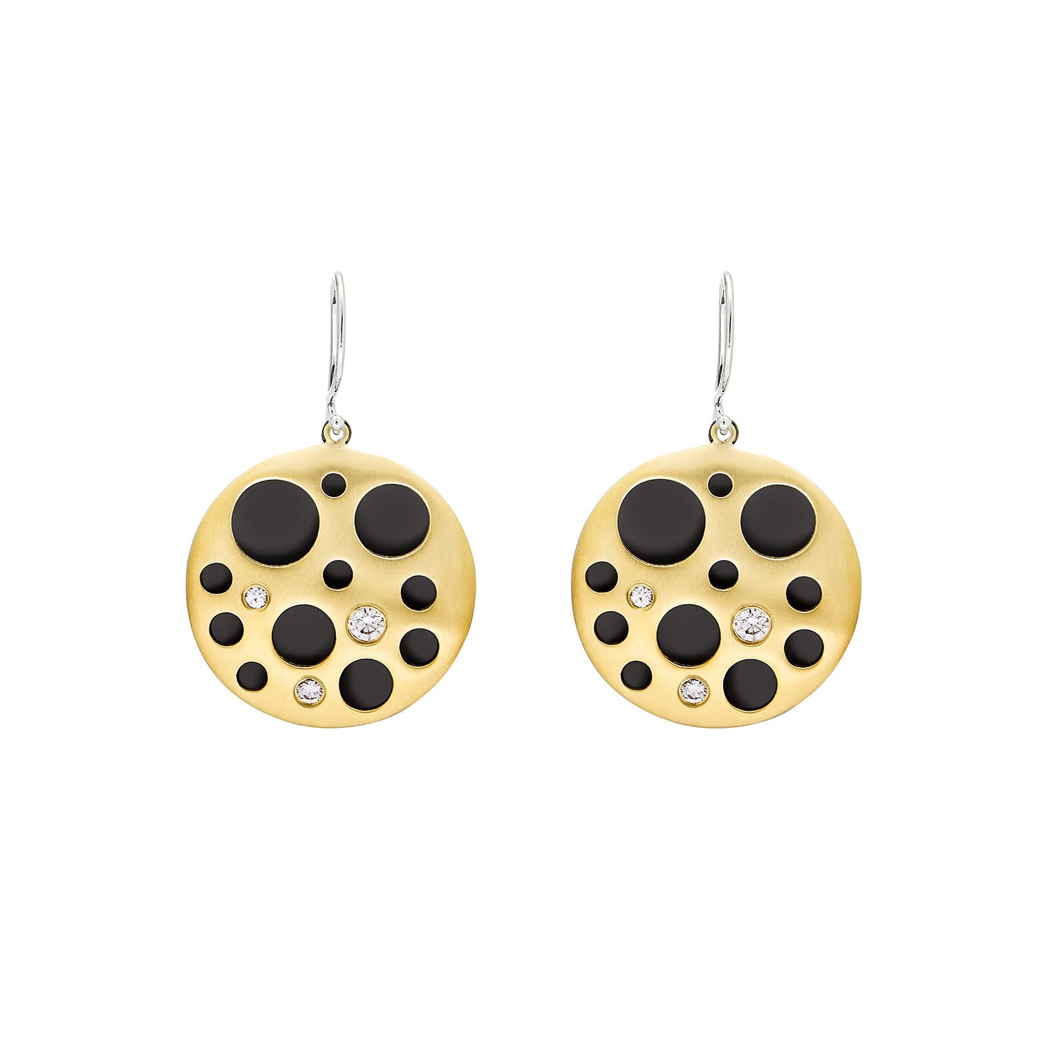 Diamond Hollow Coin Earrings