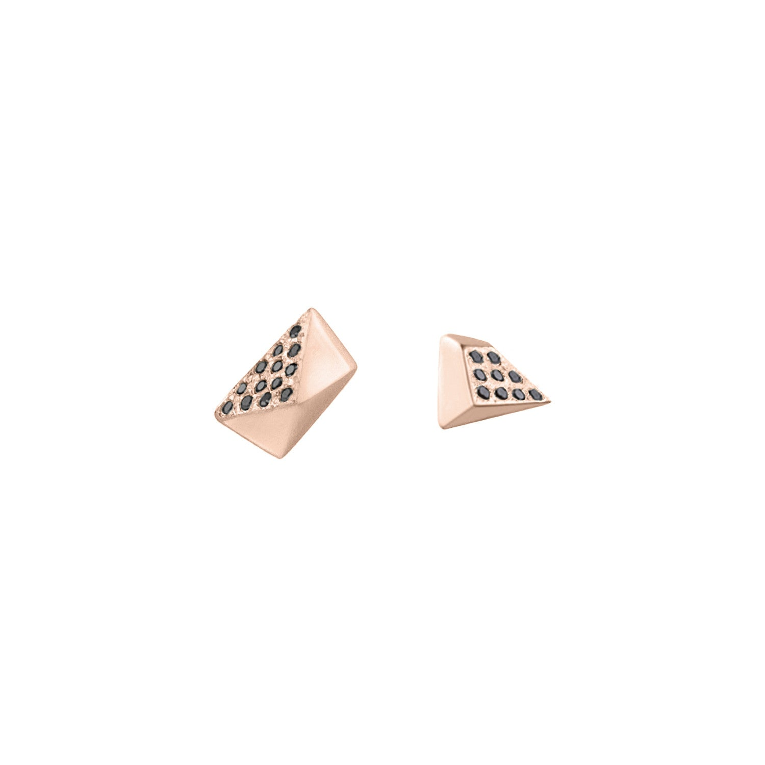 Diamond Pavé Mismatched Pi & Tri Stud Earrings