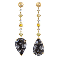 """Turning"" Black Quartz & Diamond Drop Earrings"