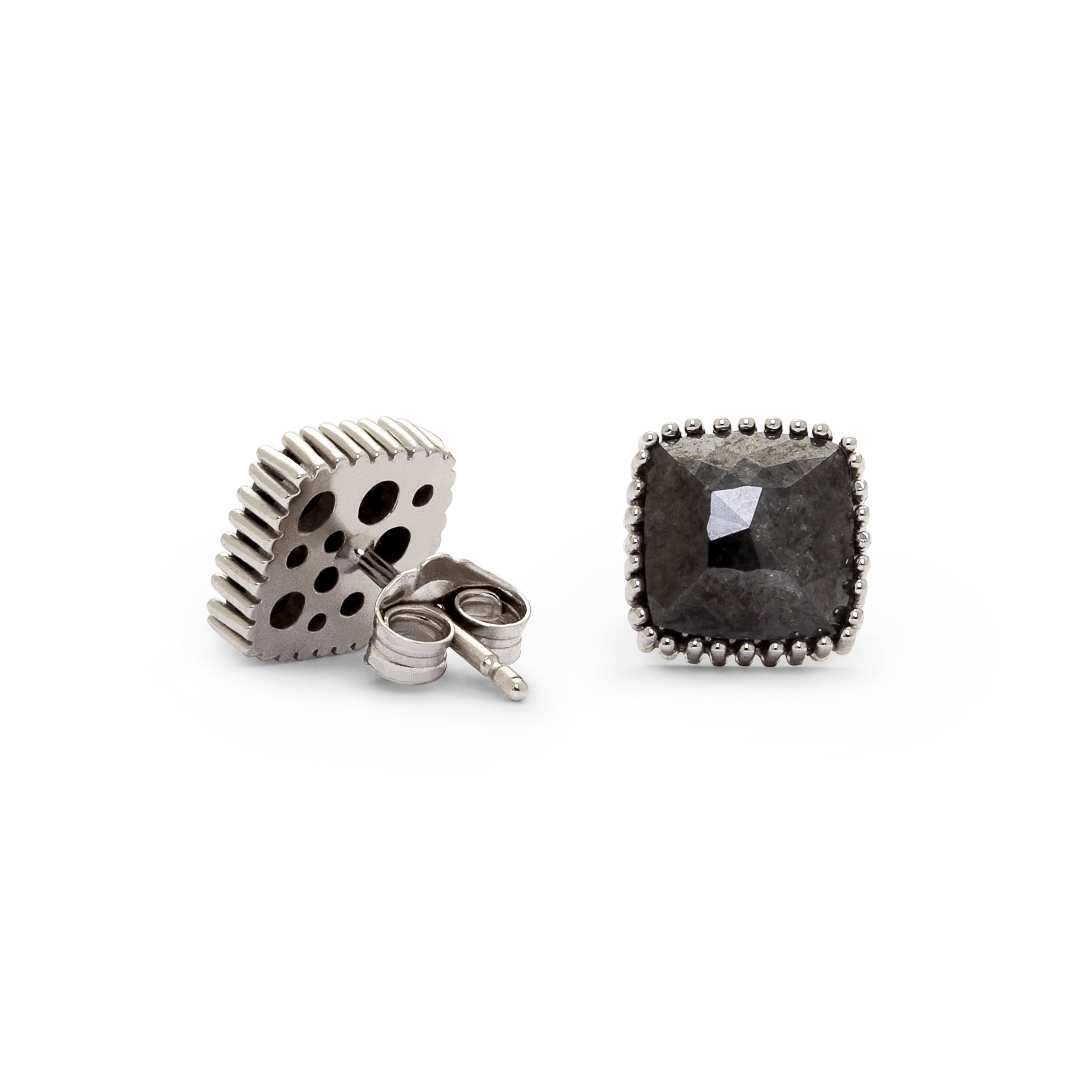 Pyramidal Rose Cut Natural Black Diamond Stud Earrings
