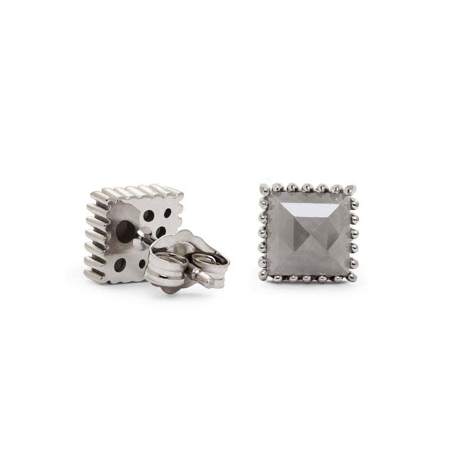 cut square diamond sterling stud earrings silver pave round