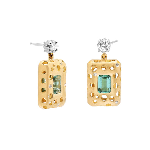 Emerald Oculus Bezeled Single Drop Earrings