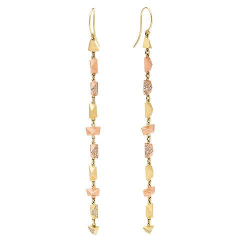 Diamond Long Faceted Drop Earrings