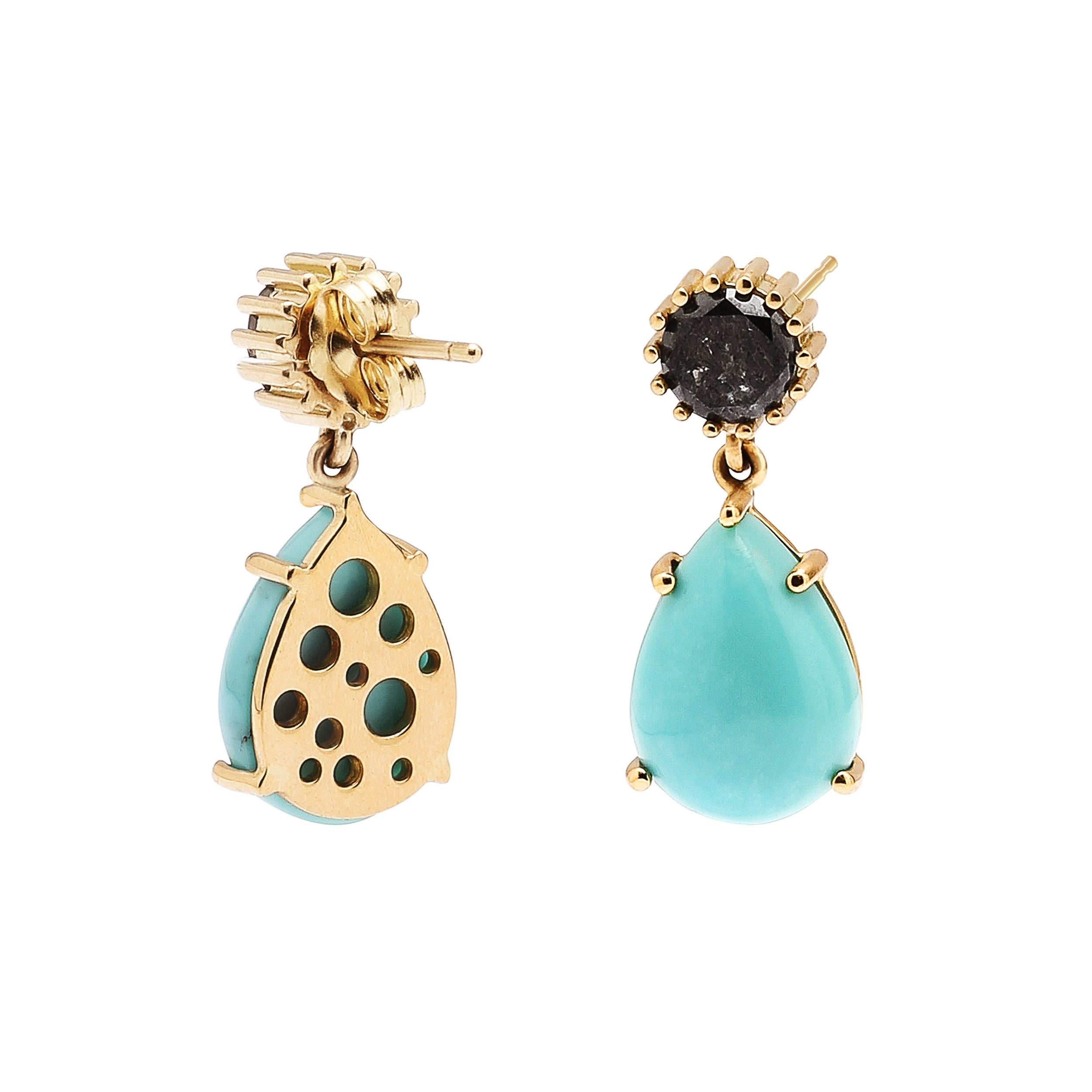 Black Diamond & Pear-Shaped Turquoise Oculus Back Single Drop Earrings