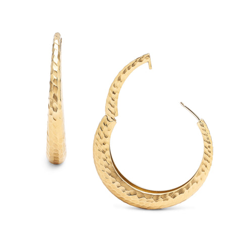 Oversized Hammered Gold Click Hinge Hoops