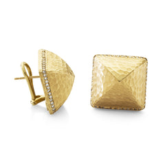 Oversized Hammered Pyramid Earrings