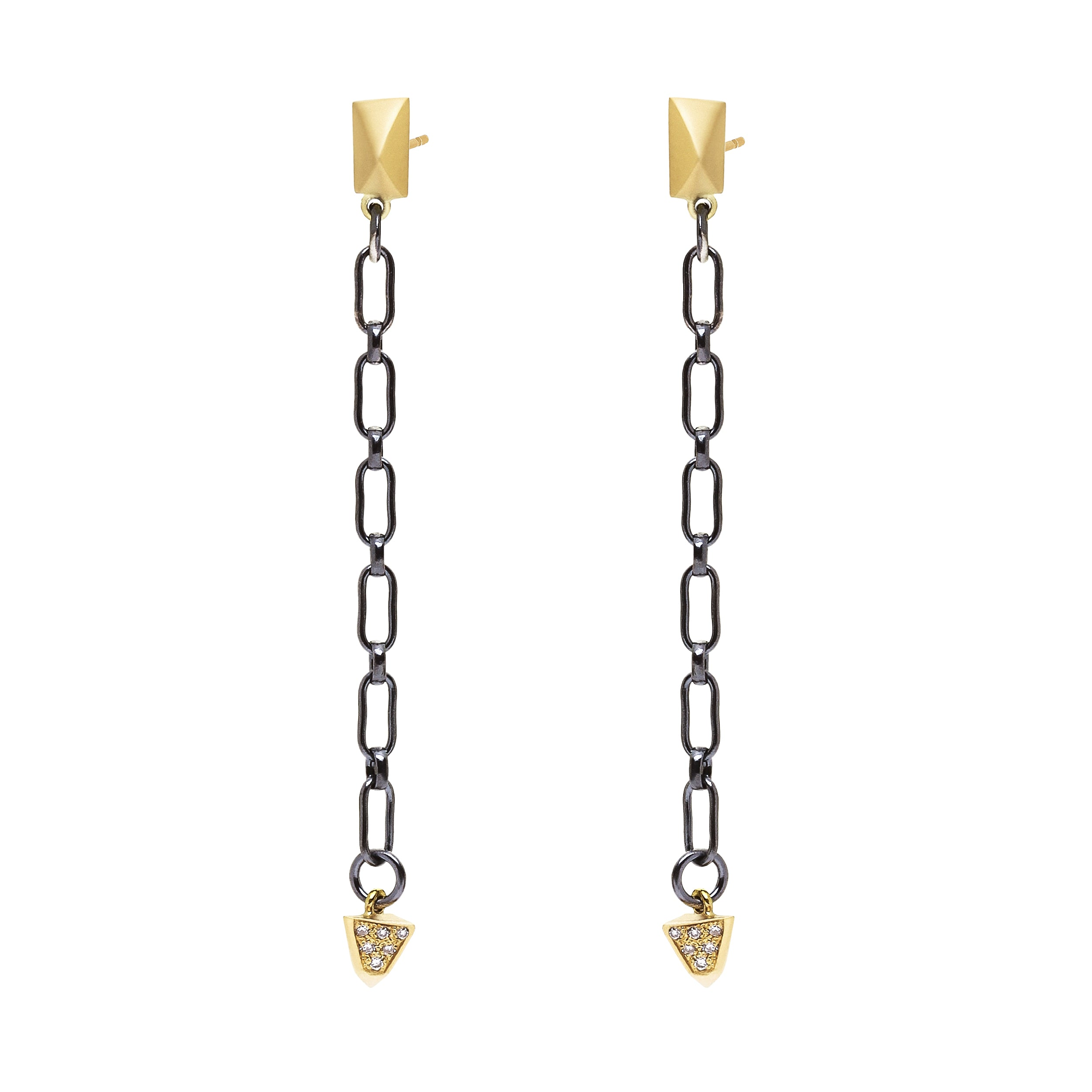 Short Pyramid Chain Post Drop Earrings